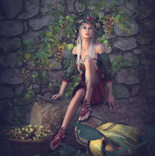 植物を採取する妖精