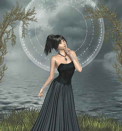 夜の海を背景にした女性