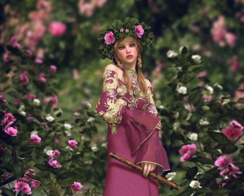 花の中にいる若い妖精