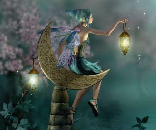 ランプを手にする妖精