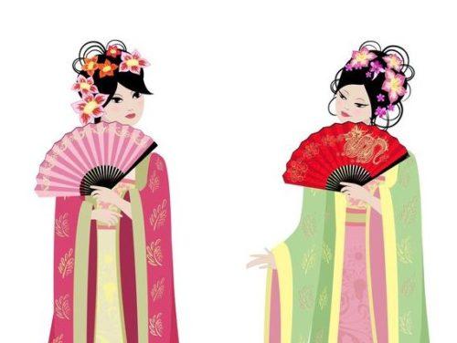民族衣装の女性二人