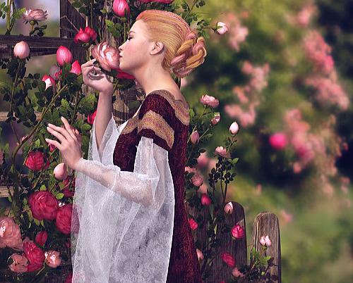 バラを育てる女性