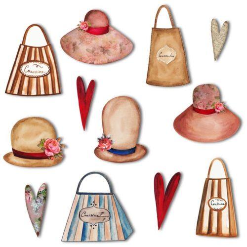 バッグと帽子のイラスト